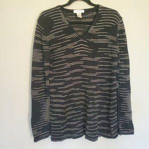 Vintage Jones New York striped sweater black PL